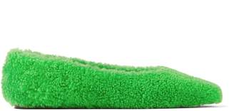 Jimmy Choo MERLIN FLAT Green Shearling Ballerina Flats