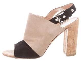 Gianvito Rossi Suede Peep-Toe Sandals