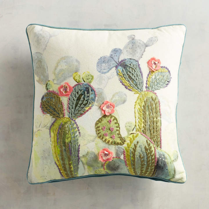 Embroidered Cactus Pillow