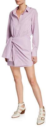 Derek Lam 10 Crosby Striped Poplin Tie-Front Long-Sleeve Shirtdress