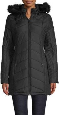 Weatherproof Chevron-Quilt Faux-Fur Puffer Coat