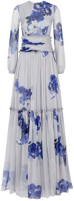 Costarellos Floral Chiffon Gown