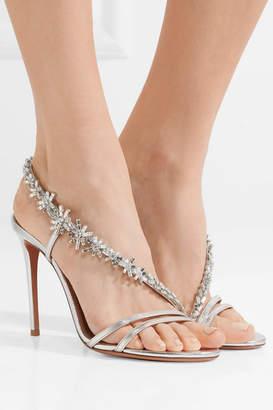 Aquazzura Chateau Crystal-embellished Metallic Leather Sandals - Silver