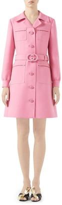 Gucci Belted Cady Crepe Dress Coat