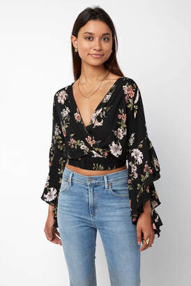 Angie Floral Surplice Bell Sleeve Crop Top