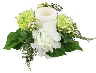 """Select Artificials 16"""" Decorative Artificial Cream White and Green Hydrangea and Berry Hurricane Glass Candle Holder"""