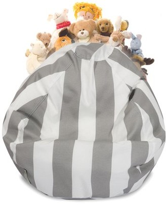 Majestic Home Goods Vertical Stripe Stuffed Animal Storage Bean Bag Chair Cover w/ Transparent Mesh Base, Multiple Colors