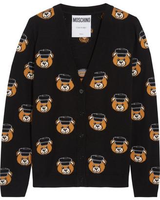 Moschino - Intarsia Wool Cardigan - Black $675 thestylecure.com