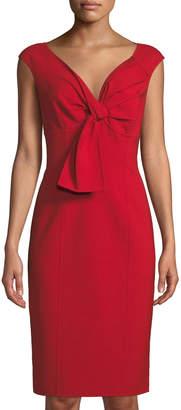 Oscar de la Renta Sleeveless Tie-Neck Bodycon Dress