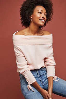 Moth Winter Paradise Off-The-Shoulder Sweater