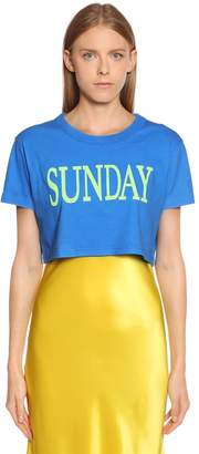 Alberta Ferretti Sunday Cotton Jersey Cropped T-Shirt