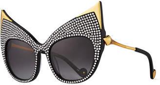 Swarovski Anna-Karin Karlsson Billion Dollar Babes Ultra Cat-Eye Sunglasses, Black/Gold