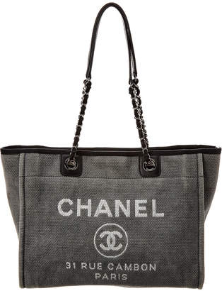 Chanel Navy Denim Canvas Large Deauville Tote