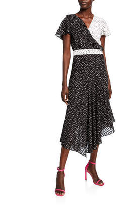 Shoshanna Carissa Sheer Chevron Dot Asymmetric Dress