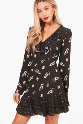 boohoo Spot and Floral Print Ruffle Tea Dress