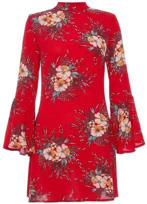 Quiz Red Crepe High Neck Flute Sleeve Dress