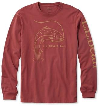 L.L. Bean L.L.Bean Lakewashed Garment-Dyed Cotton Crewneck Graphic Tee, Slightly Fitted Long-Sleeve Fish Logo