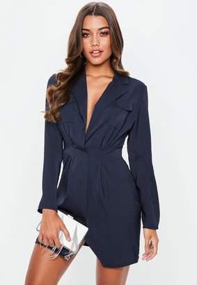Missguided Navy Satin Pocket Detail Collar Shift Dress