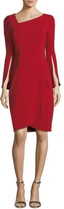 Rickie Freeman For Teri Jon Asymmetric Long-Sleeve Slit Cocktail Dress