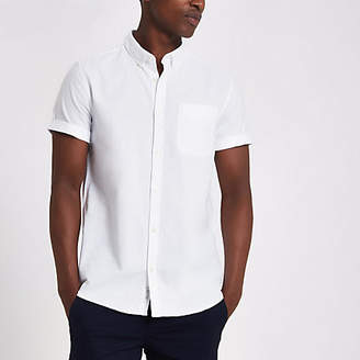 River Island White casual short sleeve Oxford shirt