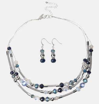 Avenue Blue Bead Mesh Necklace and Earring Set