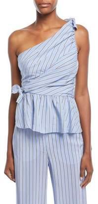 A.L.C. Soraya One-Shoulder Gathered Striped Top