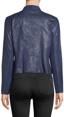 Bagatelle Draped Faux-Leather Jacket