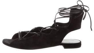 Saint Laurent Suede Round-Toe Sandals