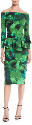 Chiara Boni Nabella Off-the-Shoulder Floral Peplum Dress
