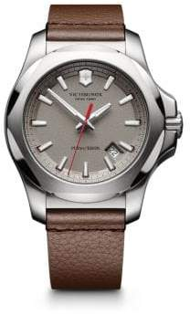 Victorinox INOX Stainless Steel& Leather Textured Dial Strap Watch