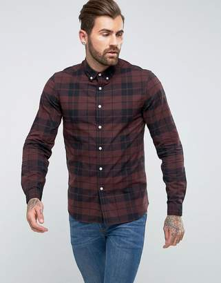 Asos Design DESIGN stretch slim check shirt in rust