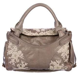 Valentino Lace-Trimmed Leather Tote