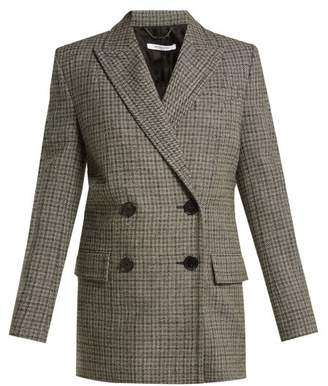 Givenchy Double Breasted Checked Wool Blazer - Womens - Grey Multi