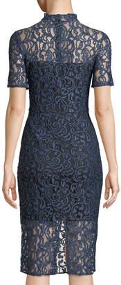 Neiman Marcus Mock-Neck Lace Illusion Dress