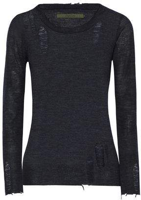 Enza Costa Woman Distressed Mélange Wool And Cashmere-blend Cardigan Black Size L Enza Costa Clearance 2018 Cheap Price Outlet Sale Footlocker Pictures MKEtm