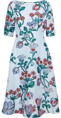 Lela Rose Flared Cloqué-Jacquard Dress