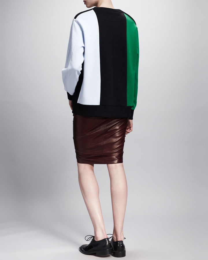 Givenchy Ruffle-Front Leather Skirt