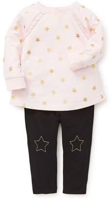 Little Me Star Ruffle Sweatshirt & Leggings Set