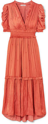 Ulla Johnson Maya Ruched Embroidered Satin Midi Dress - Coral