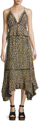 Derek Lam Leopard-Print Lace-Inset Sleeveless Silk Midi Dress, Yellow
