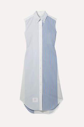 Thom Browne Striped Cotton-poplin Dress - Blue