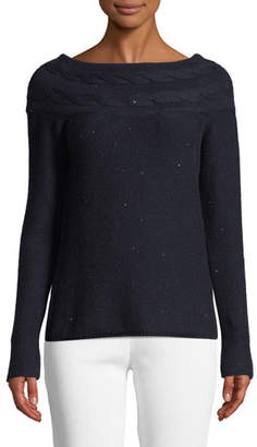 Loro Piana Bateau-Neck Long-Sleeve Paillette Cashmere-Silk Sweater