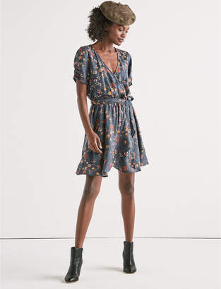 Lucky Brand PRINTED FLORAL WRAP DRESS