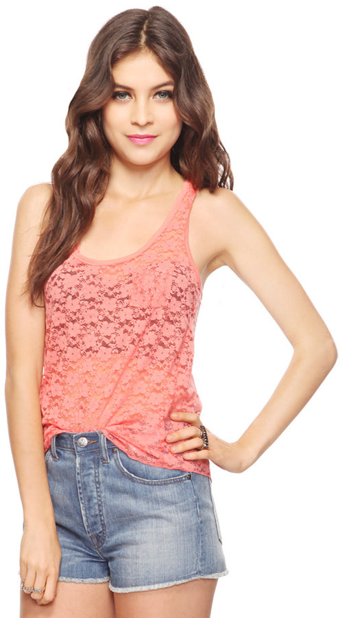 Forever 21 Snap Button Lace Tank