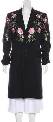 Alexander McQueen 2018 Wool & Silk Rose Embroidered Coat