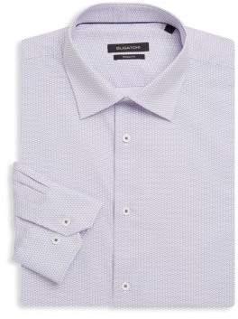 Bugatchi Shaped-Fit Printed Cotton Dress Shirt