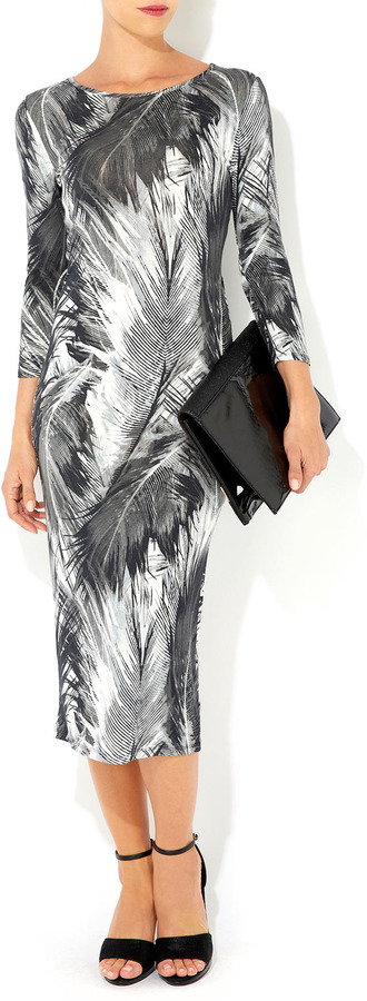 Wallis Grey Feather Printed Midi Dress