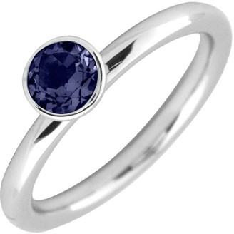 Simply Stacks Sterling 5mm Created Sapphire Solitaire Ring