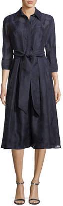 Rickie Freeman For Teri Jon Embellished Self-Tie Shirt Dress