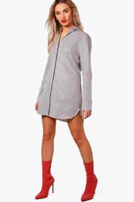 boohoo Stripe Tie Back Shirt Dress